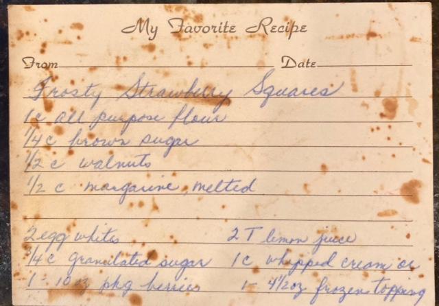 Strawberry squares recipe card
